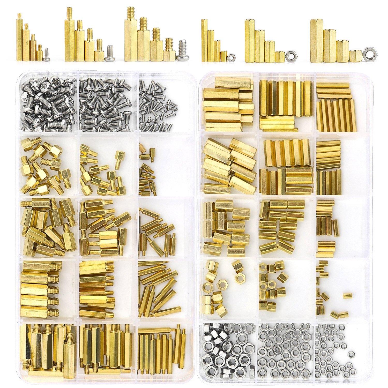 Sutemribor 420PCS M2 M3 M4 Male Female Hex Brass Spacer Standoff Screw Nut Assortment Kit