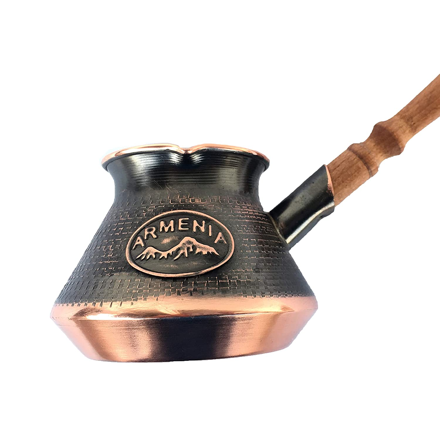 Handmade Armenian Coffee Pot Maker 3 Cup (9 Fl Oz) Copper Jazva Ararat Turkish Arabic Greek Cezve Jezve Ibrik Turka Jazve Wooden Handle (3 Cup (9 US fl.oz)) HandCraftoria