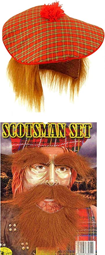 Scottish Scots Tam O Shanter Fancy Dress Ginger Wig Tartan HAT /& BEARD MOUSTACHE