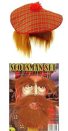 Mega Jumble® Tam O Shanter Tartan Hat with Ginger Hair Scottish Look +  Scotsman Ginger Beard b25591c4670f