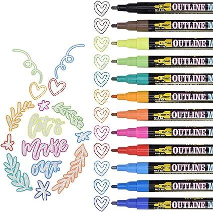 Farbstifte Magische Stifte Outline Stift Permanent Marker Wasserfester Pen Double Line Outline Glitzer Stifte Farbstifte Stationery Doodle Dazzle Stifte Outline Stift f/ür Schreiben und Zeichnen 12pc