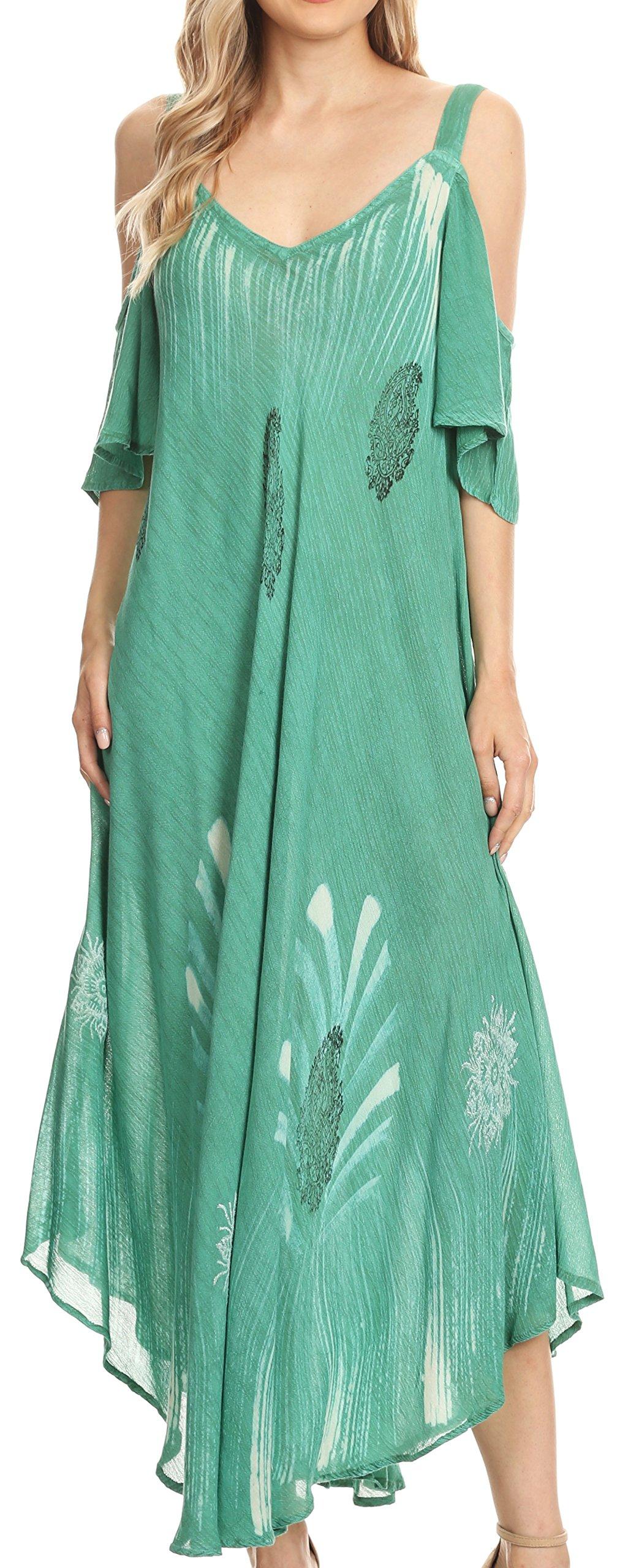 Sakkas 18155 - Renata Women's Cold Shoulder Maxi Caftan Dress Sundress Flare Stonewashed - Aqua - OS by Sakkas (Image #1)