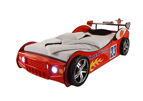 Energy Autobett inkl LED Beleuchtung, Rot, 90 x 200 cm