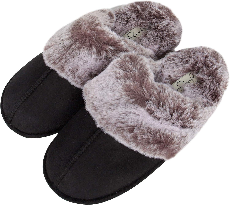 Jessica Simpson Women/'s Comfy Faux Fur House Slipper Scuff Memory Foam Slip on A