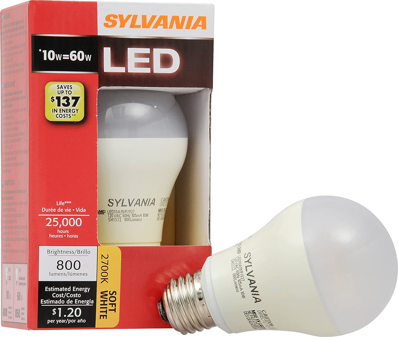 Sylvania 72554 10 watt 60 watt equivalent 800 lumens a19 led sylvania 72554 10 watt 60 watt equivalent 800 lumens a19 led soft white light bulb led household light bulbs amazon parisarafo Choice Image