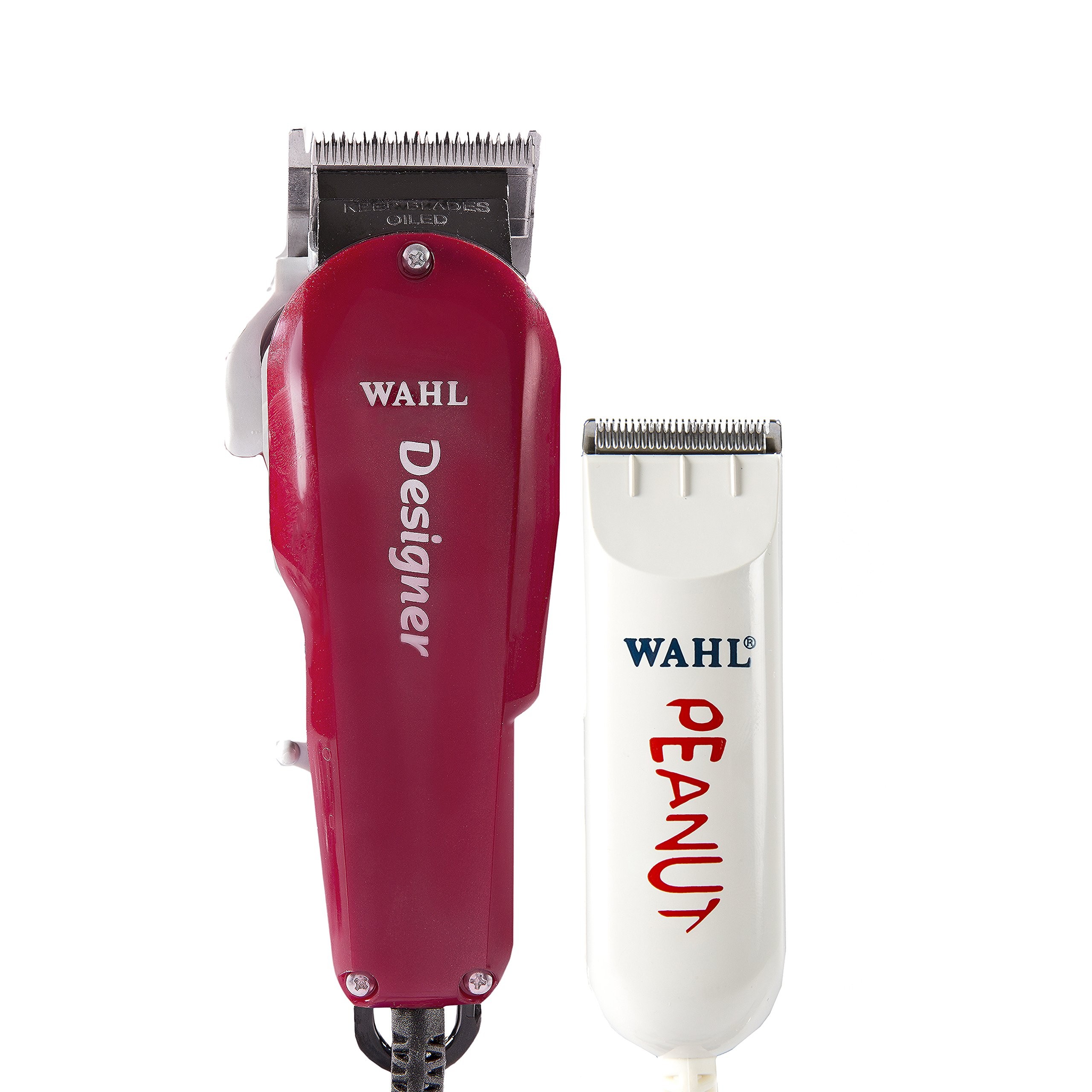 Wahl Professional All Star Clipper/Trimmer Combo #8331 – Features Designer Clip and Peanut Trimmer – Includes Accessories - Red