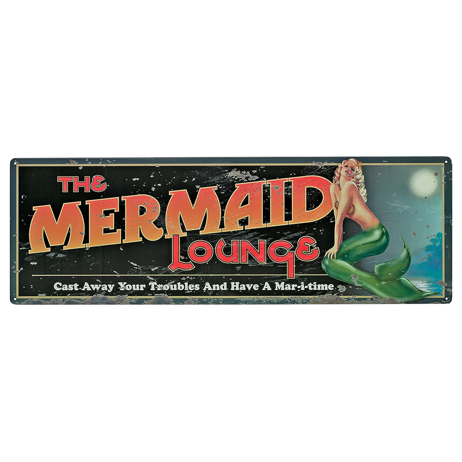 Design Toscano the Mermaid Lounge Antique Look Tintype Sign OW33331