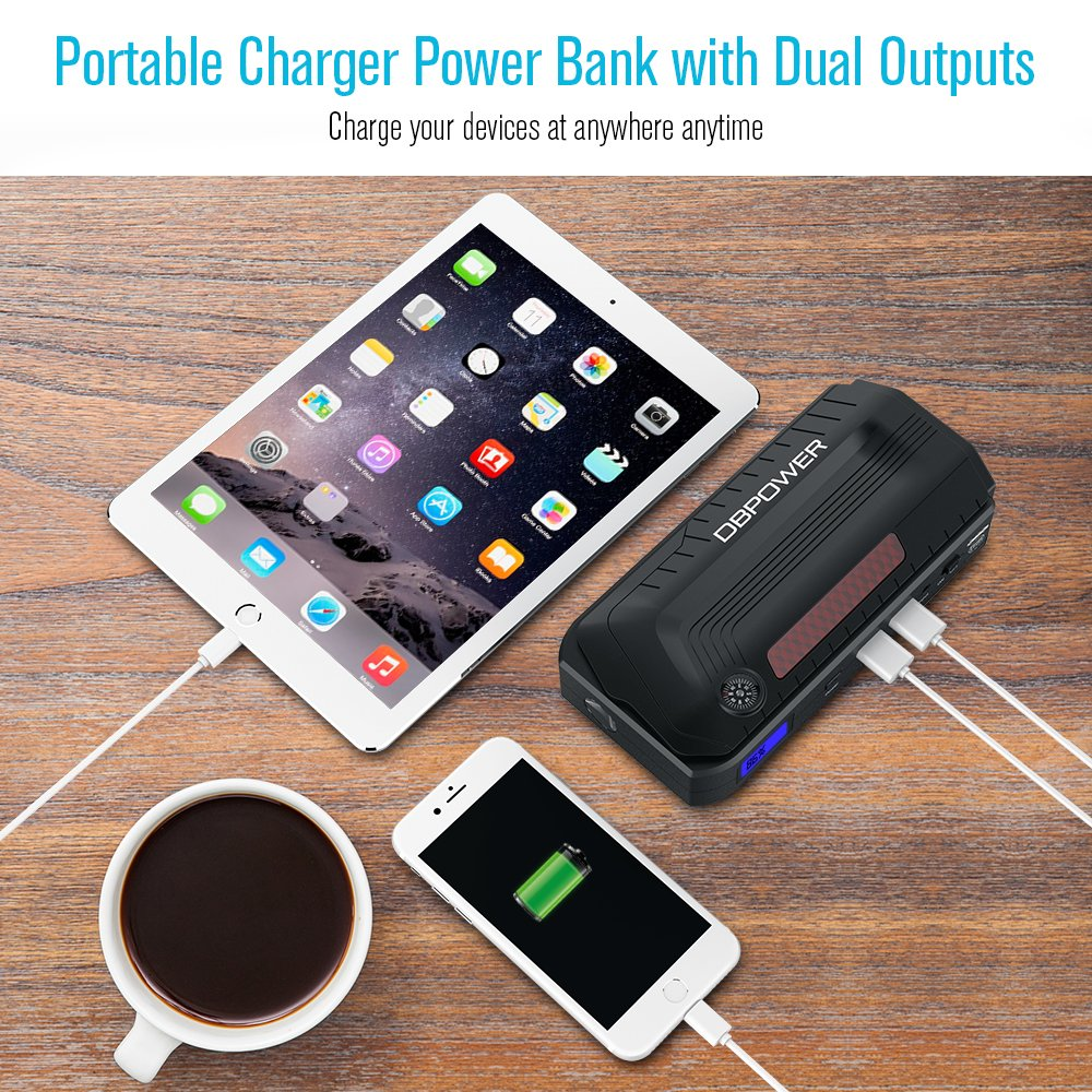 DBPOWER 800A Peak 18000mAh Portable Car Jump Starter (up to 6.5L Gas, 5.5L Diesel Engine), Car Battery Booster & Portable Phone Charger with LED Flashlight and Dual USB Ports by DBPOWER (Image #4)