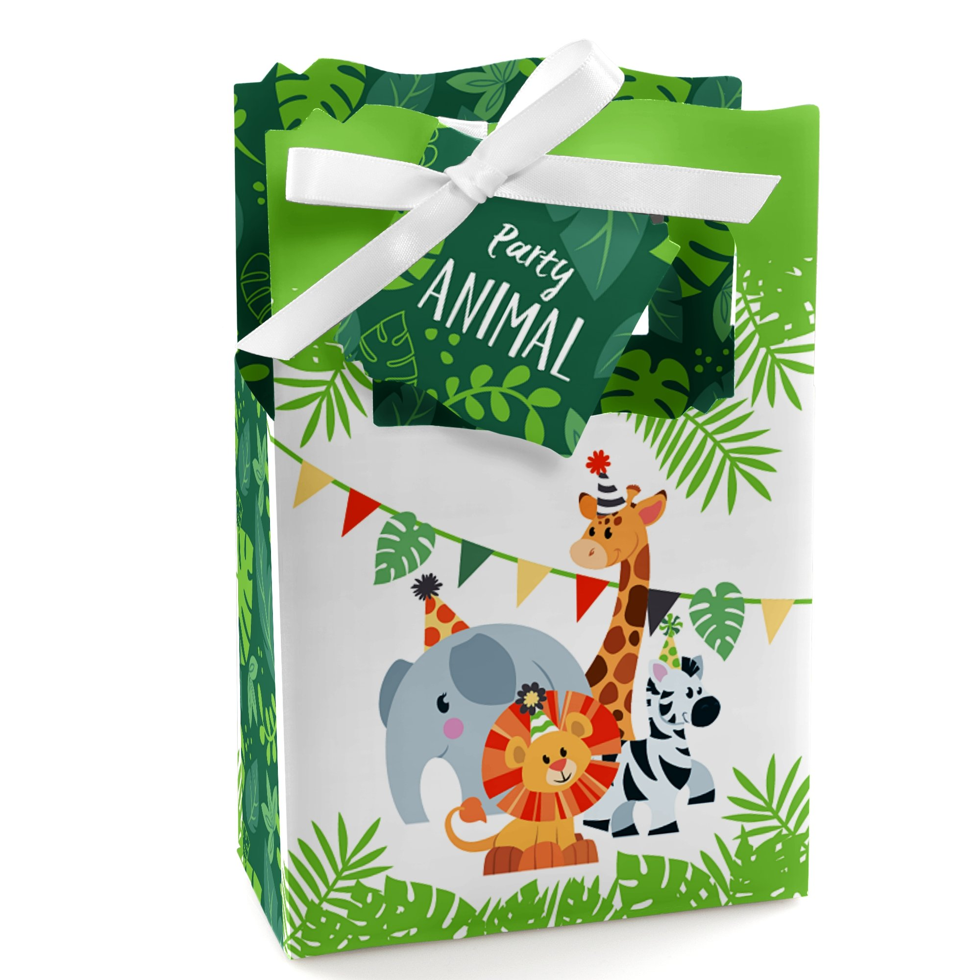 Big Dot of Happiness Jungle Party Animals - Safari Zoo Animal Birthday Party or Baby Shower Favor Boxes - Set of 12