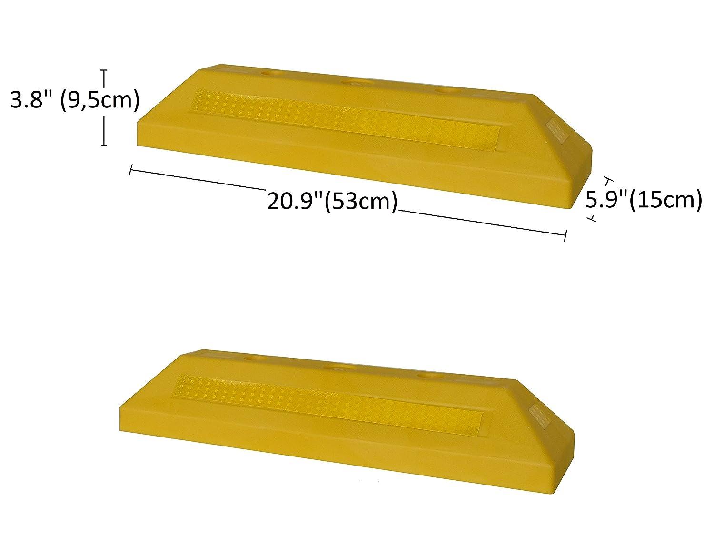 Abmessungen 53/×15 x 9,5 cm PWS-32Yx2 Kunststoff Radstopp-Parkbegrenzung f/ür gewerbliche und private Parkh/äuser Parkpl/ätze und Privatgaragen 2er Pack Farbe Gelb