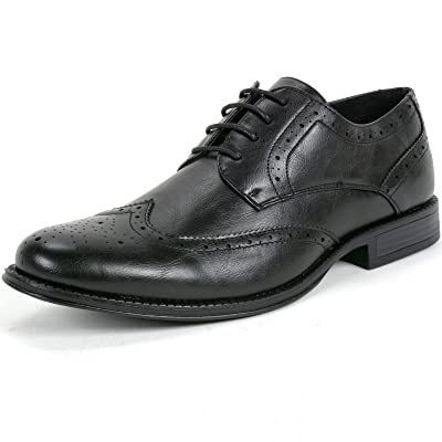 alpine swiss Zurich Mens Wing Tip Oxfords Two Tone Brogue Medallion Dress Shoes | Oxfords