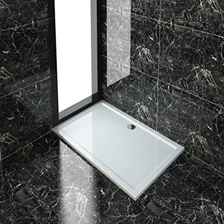 40mm slimline Acrylic rectangle shower enclosure tray with waste 1000 x 800 mm