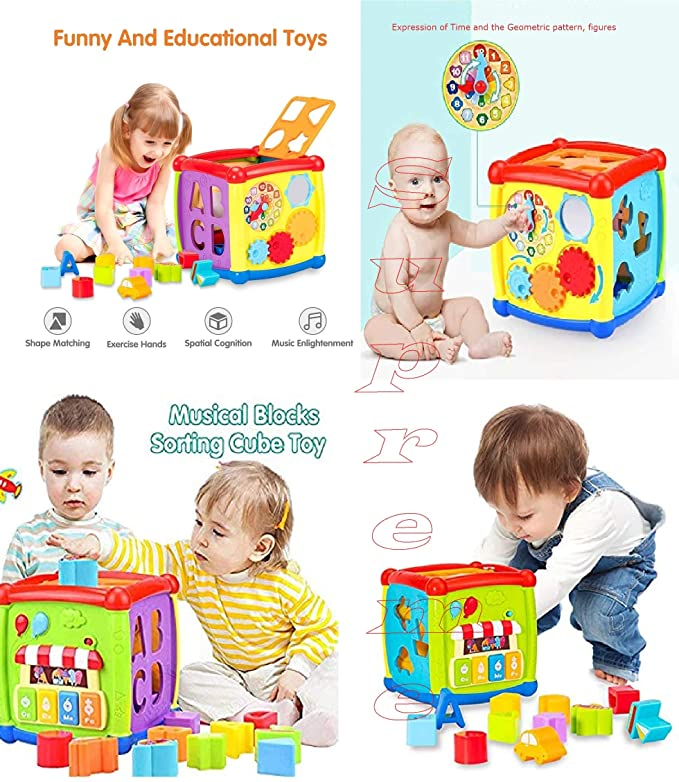 Supreme 6 in 1 Learning Cube Educational & Learning Activity Toy Including Blocks, Clock, Alphabets-Tree, Transportation Vehicles, Gears (Cause & Effect Rules), Music Keyboard & Mirror for Kids