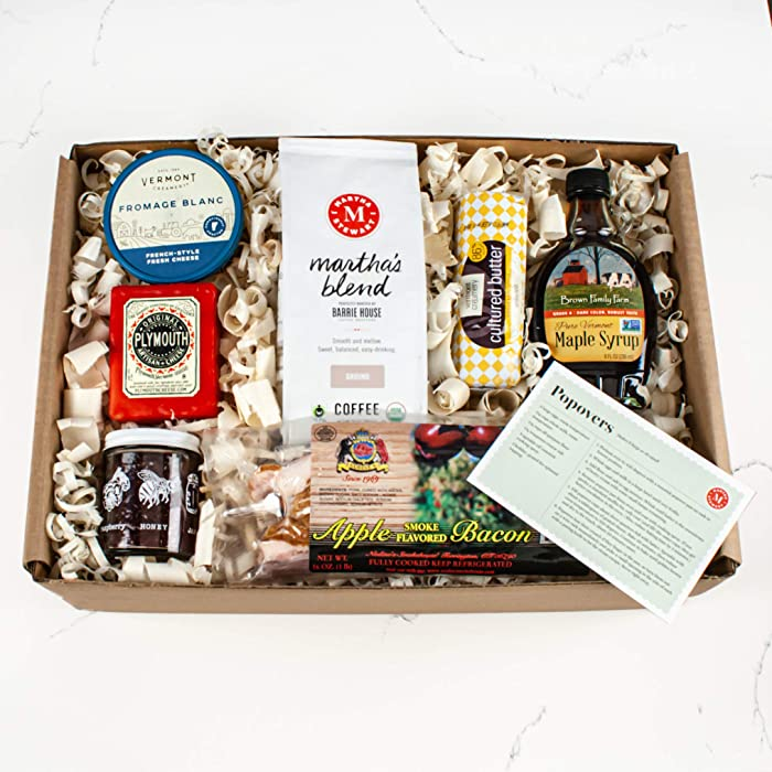 Martha Stewart New England Breakfast Gift Basket - With Dark Maple Syrup - Cultured Butter - Apple Bacon - Martha Stewart Coffee Blend and Delicious Cheese