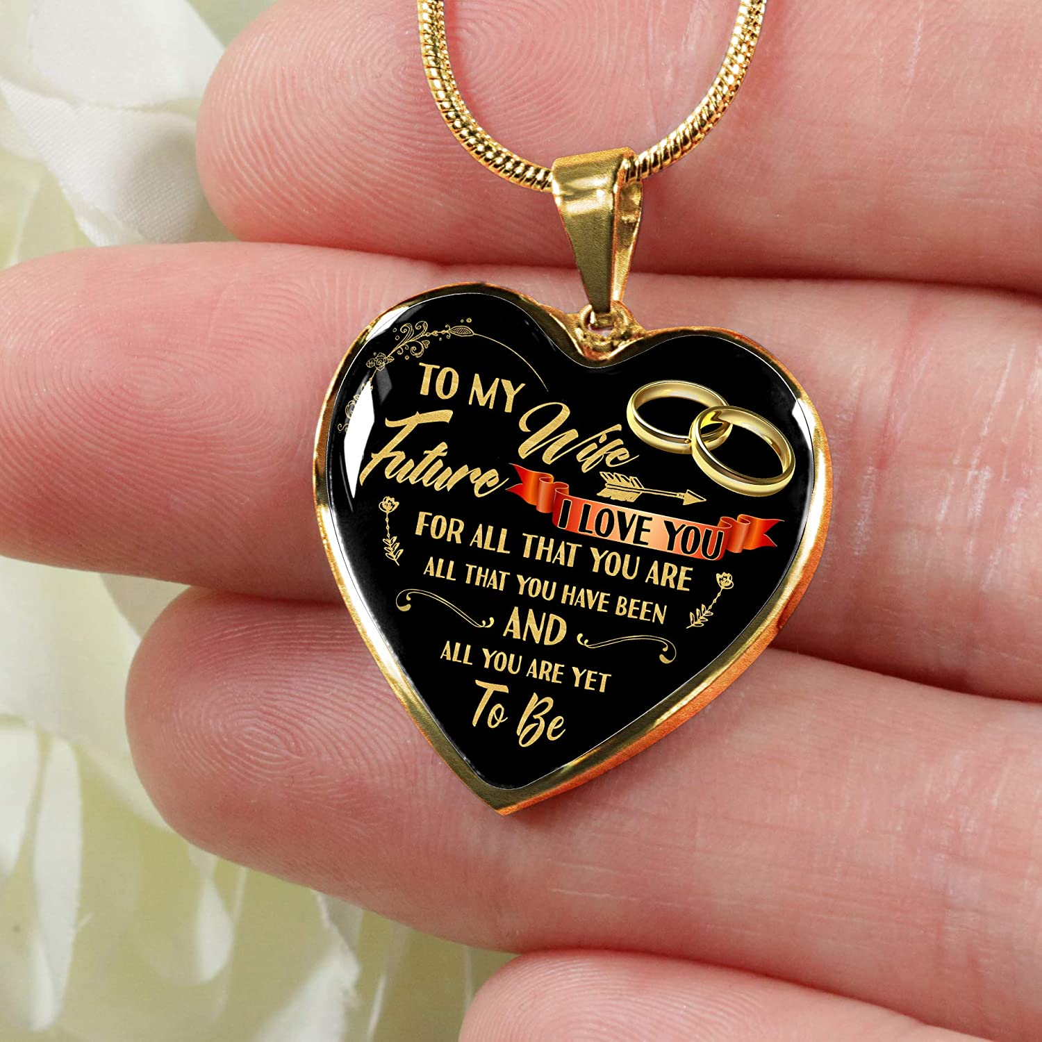 Future Wife Gold Heart Pendant for Women Engagement Gift SmallWonderGifts Valentines Day to My Fianc/é Necklace Birthday Jewelry