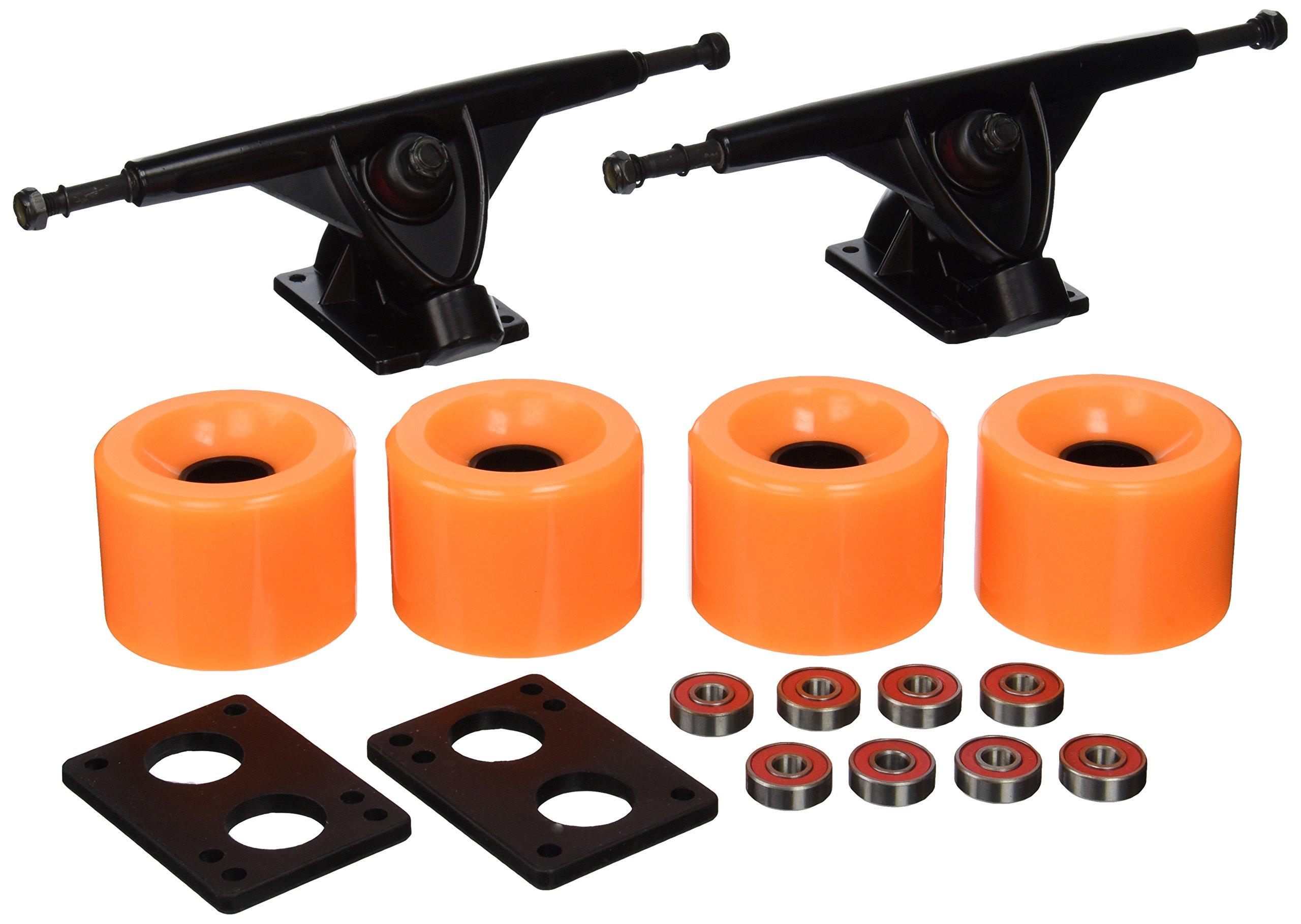 Longboard 180mm Trucks + 70mm Wheels + Bearings Combo (Solid Orange)