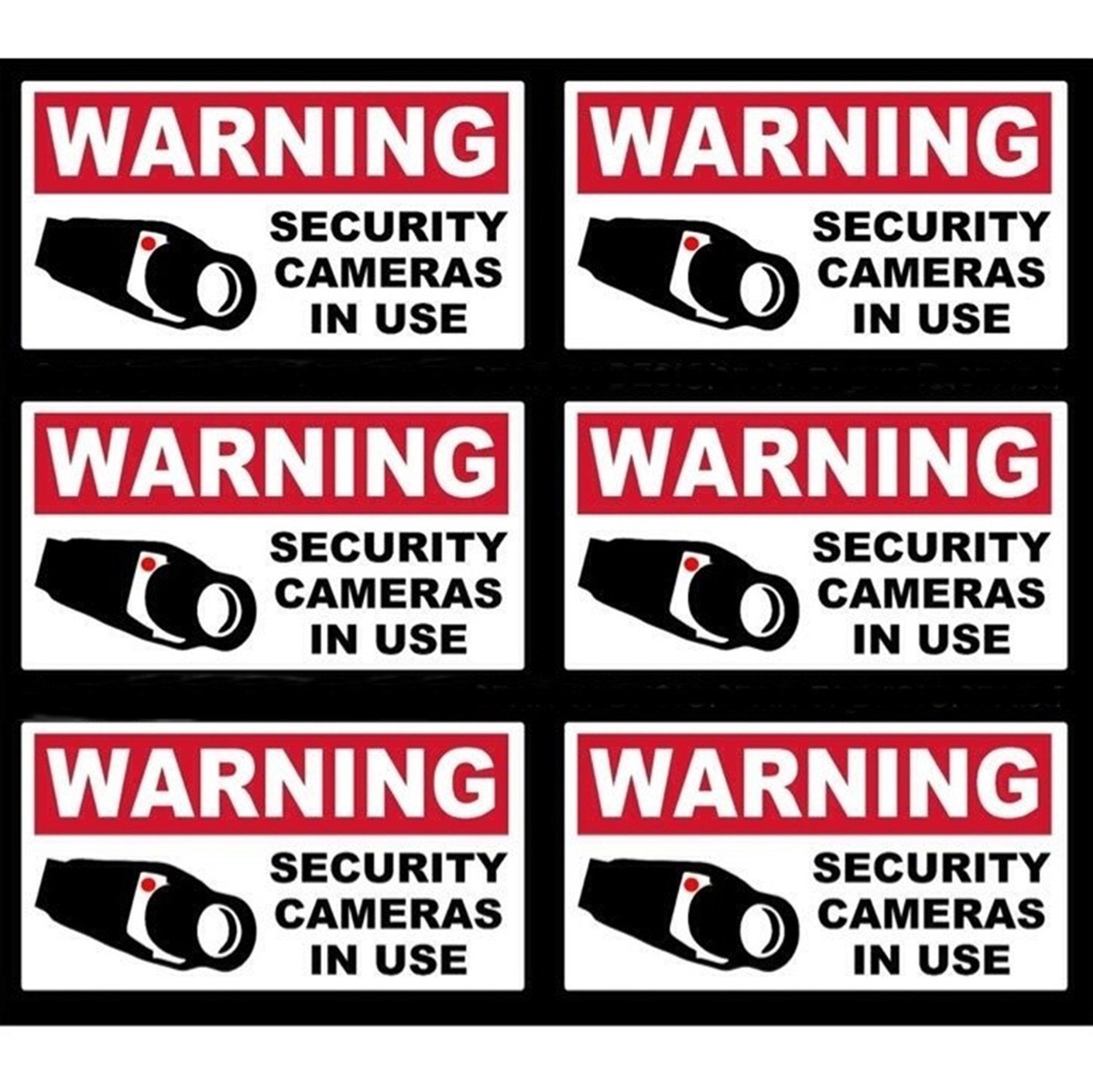 6 Pcs Inspiring Unique Warning Security Cameras in Use Video Surveillance Sticker Yard Sign Adhesive Premises Monitored Business Under Protect Post Window Hour Tools Hr Decals Outdoor Lawn Size 4''x2''