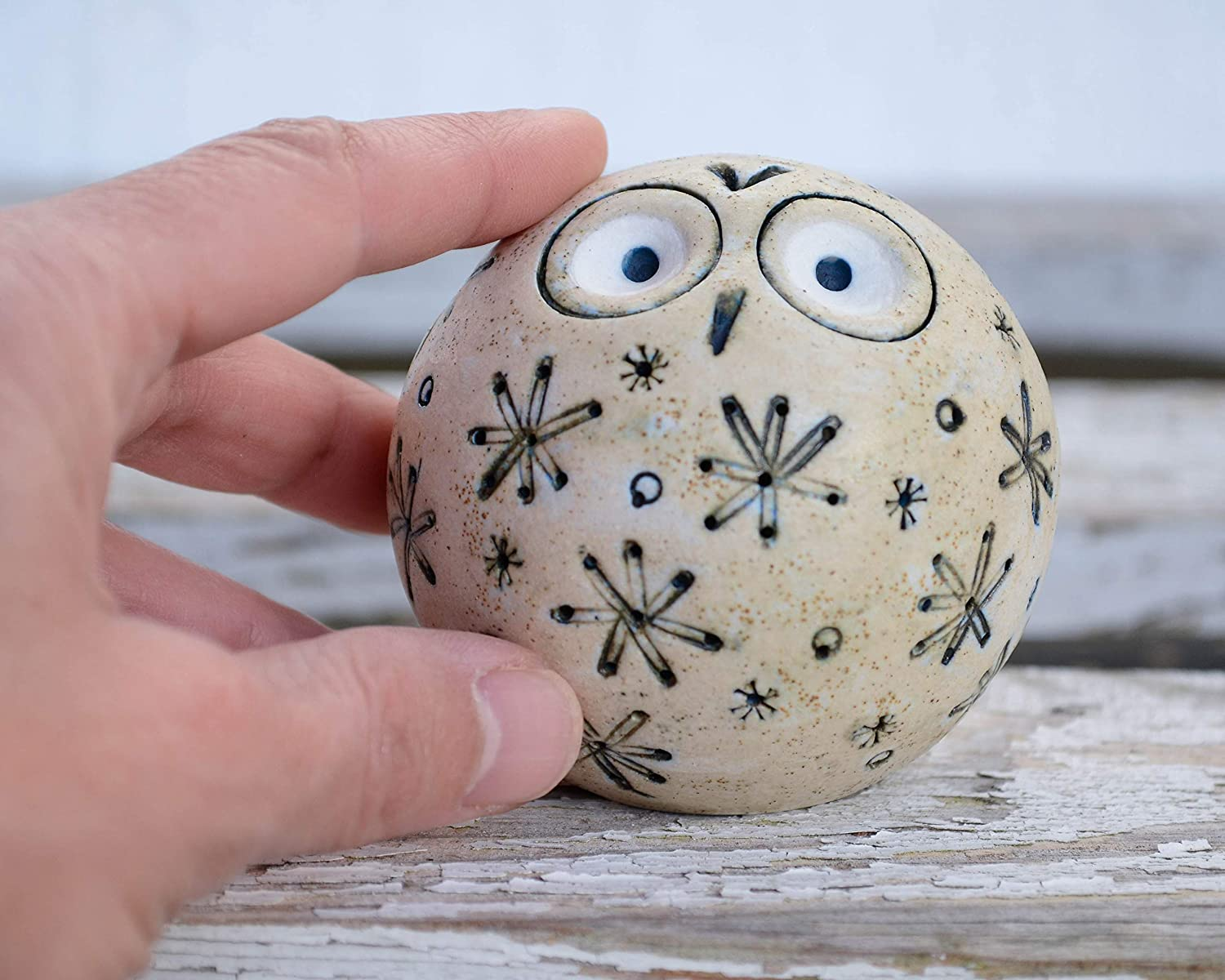 Christmas Stars Ornaments Rustic Baubles Owl, Xmas Table Top Decoration Rustic Funny Gift, Garden Art Cute Gift Mum, Modern Contemporary Owl