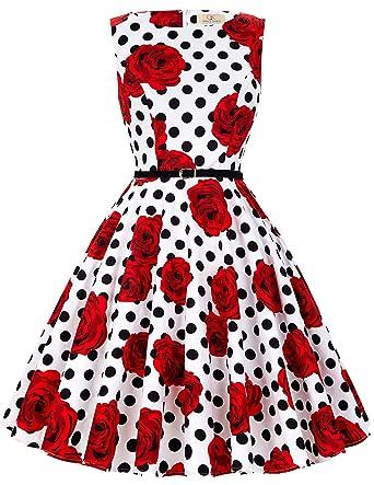 50s Rockabilly Kleid Festliches Kleid Partykleider Cocktailkleider ...