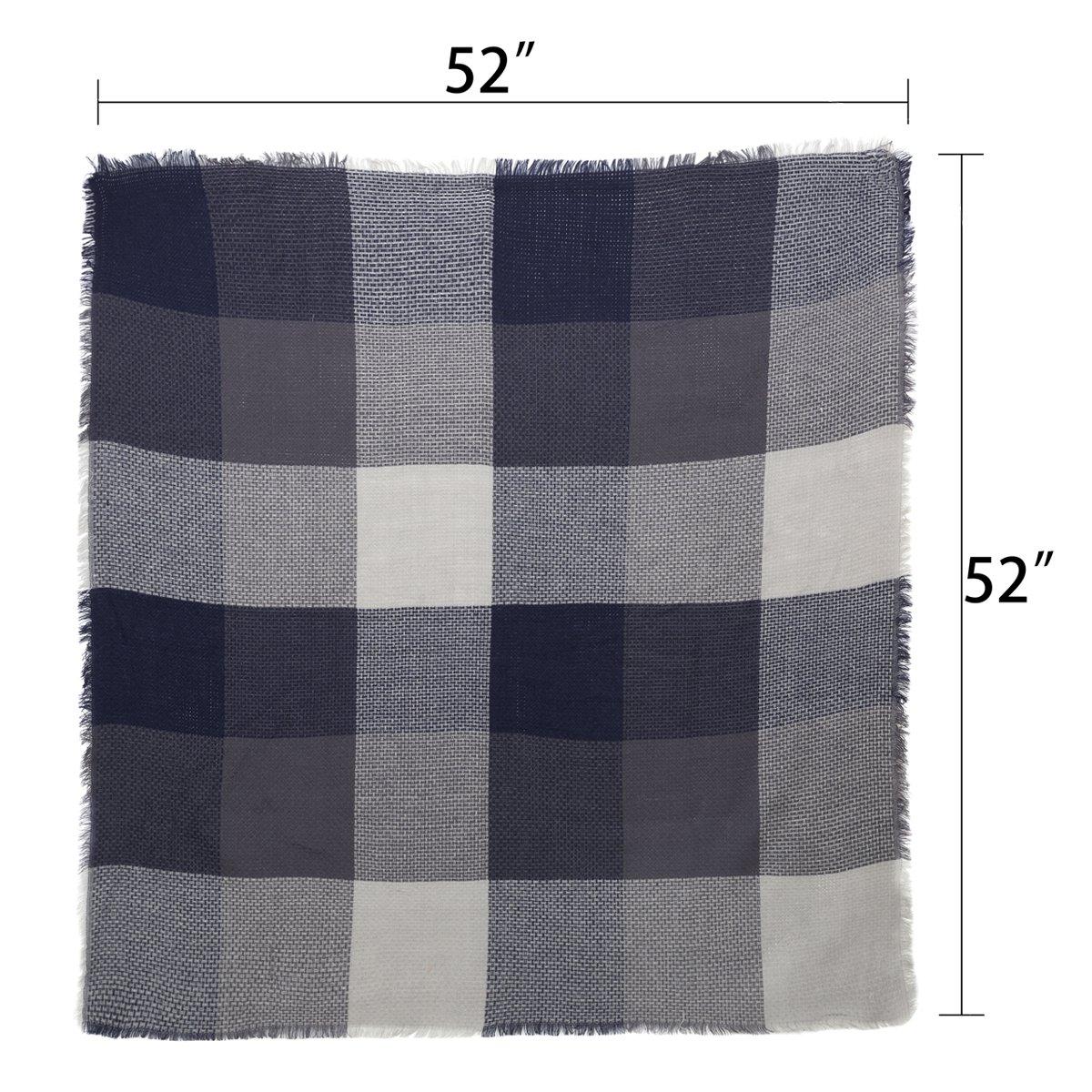 Women Square Scarf Oversized Tartan Blanket Large Winter Warm Shawl Tassel Wrap(Navy Blue2)