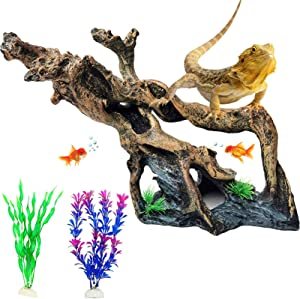PINVNBY Resin Driftwood Aquarium Decoration Tree Branch Fish Tank Trunk Ornament Betta Hiding Log Reptile Climb Decor with Holes Artificial Aquatic Plants for Shrimp Fish Fry Gecko Lizard