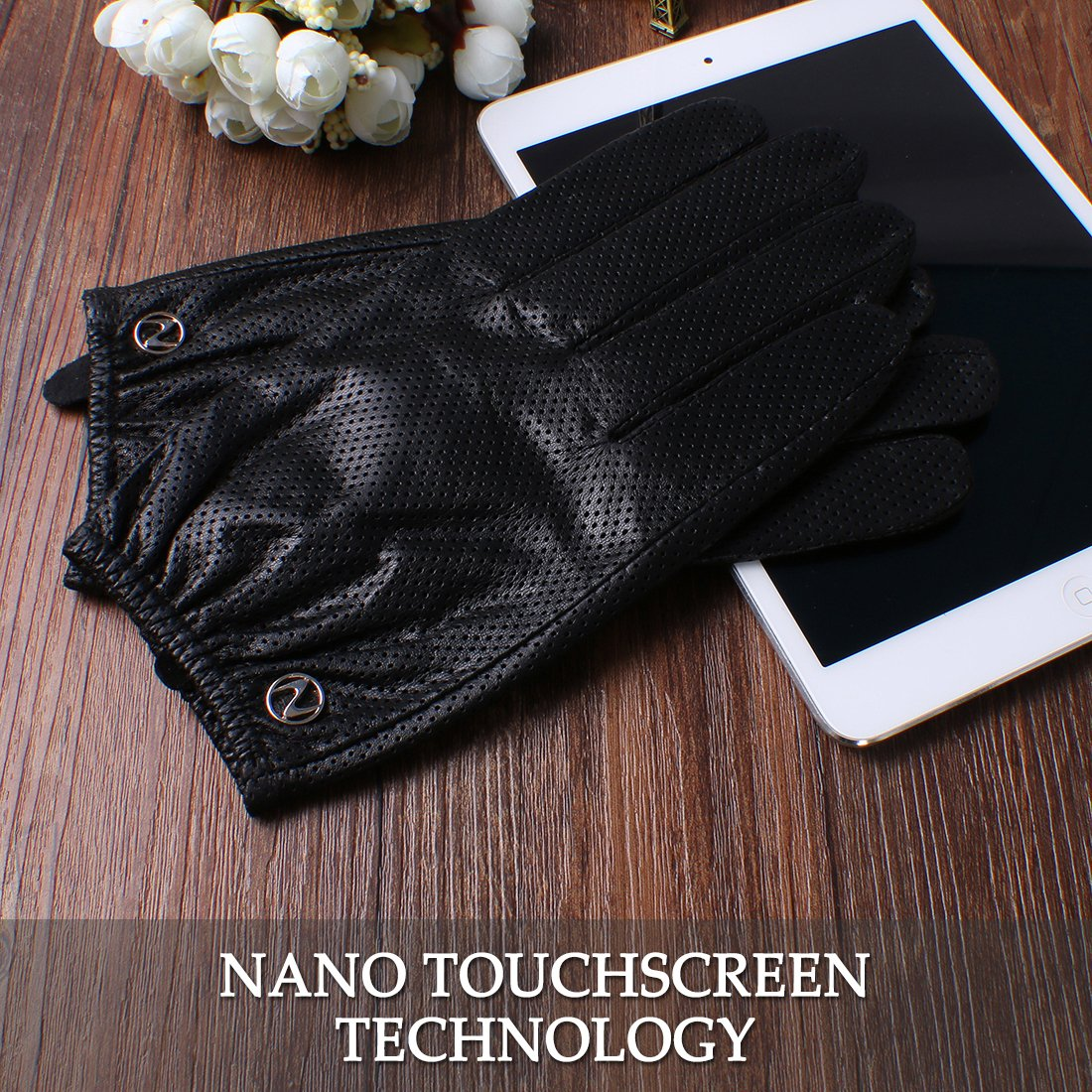 Nappaglo Men's Leather Gloves Lambskin Touchscreen Winter Warm Perforated Driving Motorcycle Mittens (M (Palm Girth:8''-8.5''), Black (Touchscreen)) by Nappaglo (Image #6)