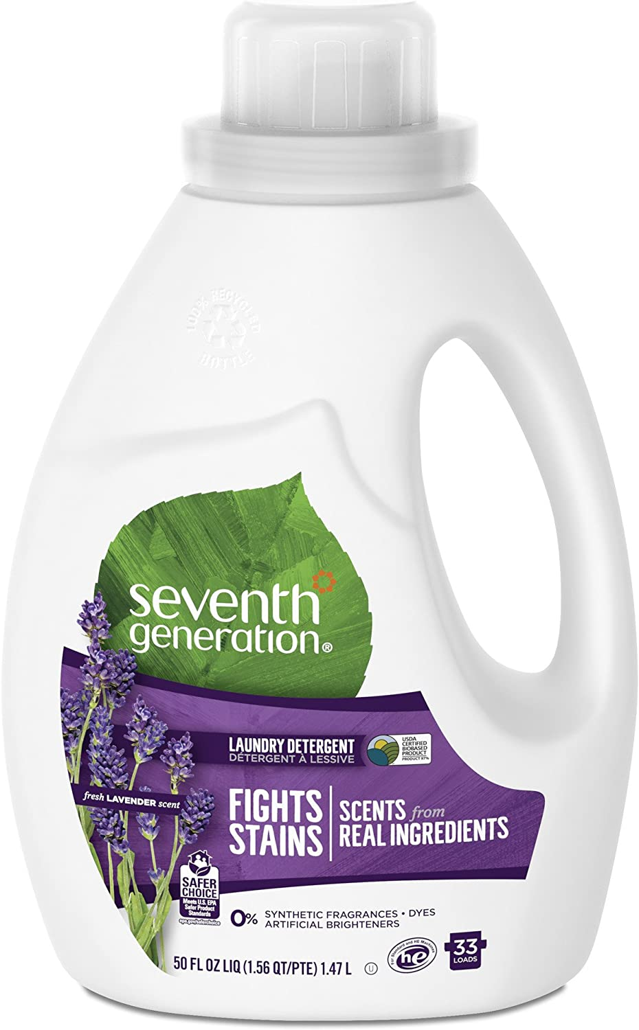 Seventh Generation Liquid Laundry Detergent, Fresh Lavender scent, 50 oz, 33 loads (Packaging May Vary)