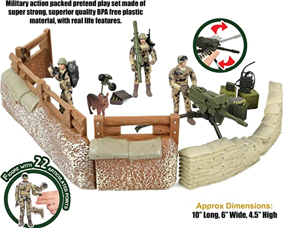 25-Pieces Toy Click n Play CNP1343 Click N Play Military Trench Defense Unit Play Set