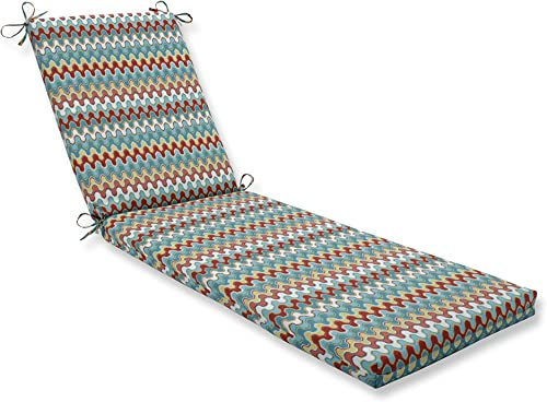 Pillow Perfect Outdoor Indoor Nivala Navajo Chaise Lounge Cushion 80x23x3,Blue