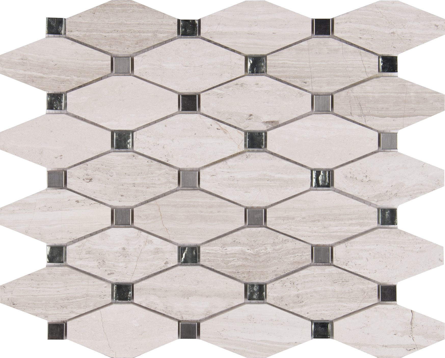 M S International Bayview Elongated Octagon 11.81 In. X 13.4 In. X 10 mm Glass Metal Mesh-Mounted Mosaic Tile, (11 sq. ft., 10 pieces per case)