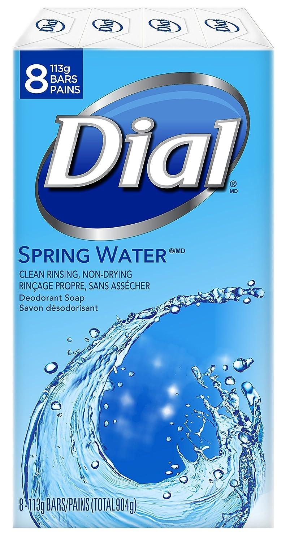 Dial Antibacterial Deodorant Bar Soap, Spring Water, 8 Count, 113 Grams (1748839)