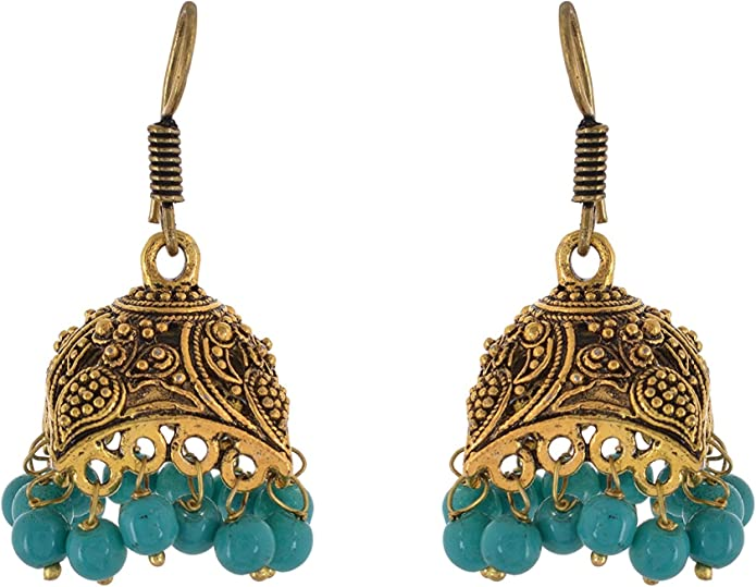 Metal Jhumki Earring for Woman and Girls Subharpit Latest Fancy Beads Choice