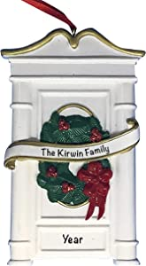 White Holiday House Door Ornament 2021 Christmas Ornaments – Charming Personalized Christmas Ornaments 2021 – Premium Polyresin Our First Home Ornament 2021 – Durable and Lightweight