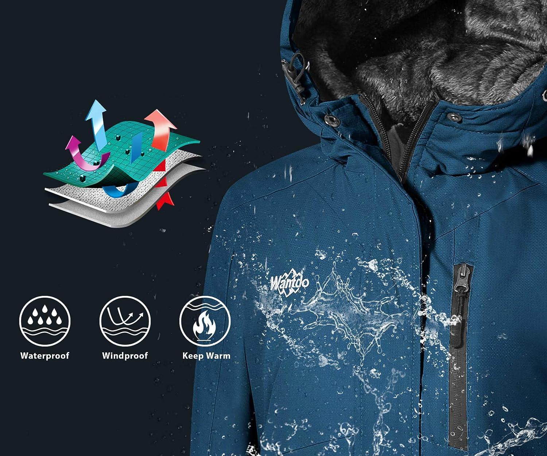 Wantdo Womens Mountain Winter Snow Ski Jacket Waterproof Hooded Parka Rain Coat