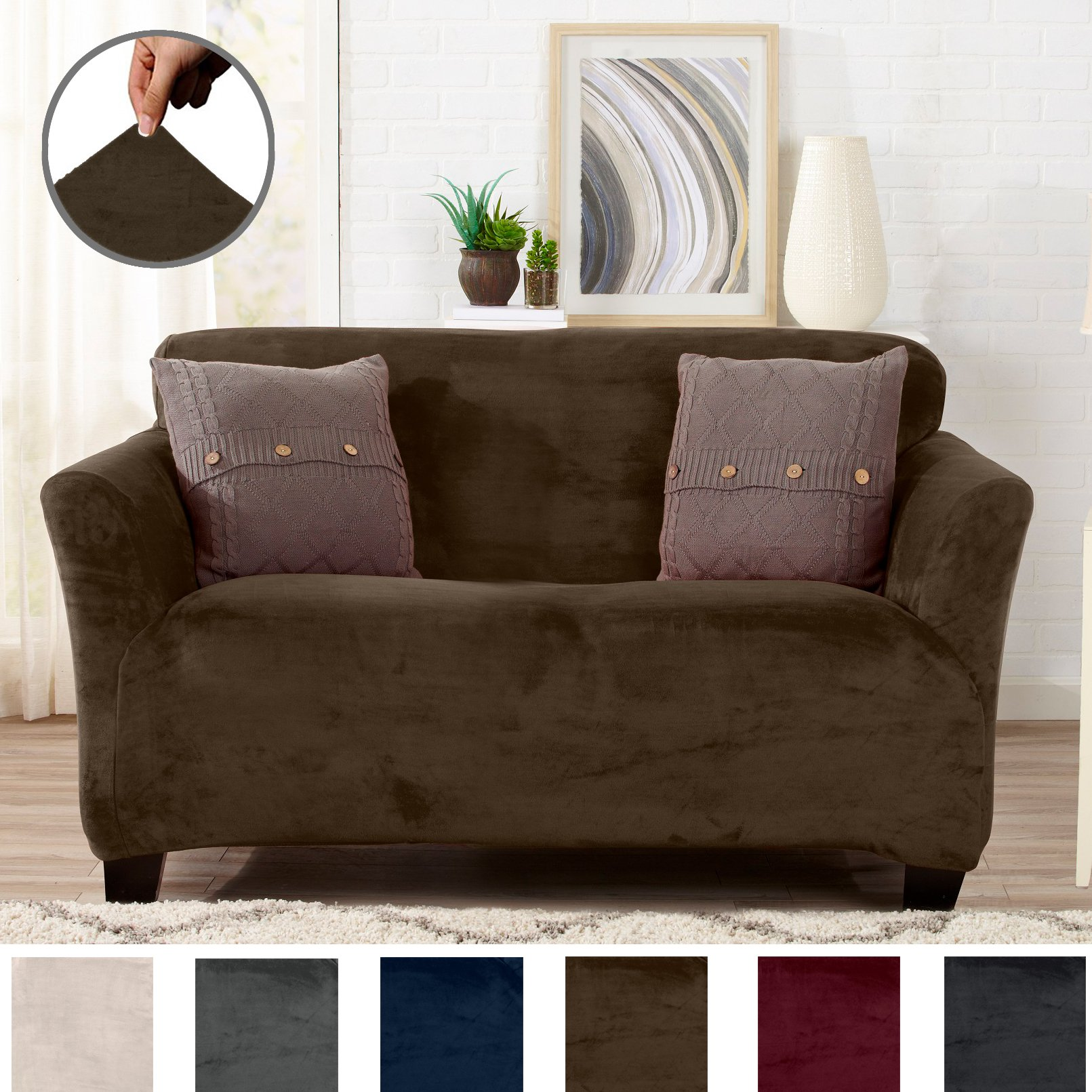 Great Bay Home Modern Velvet Plush Strapless Slipcover. Form Fit Stretch, Stylish Furniture Cover/Protector. Gale Collection Brand. (Loveseat, Walnut Brown)