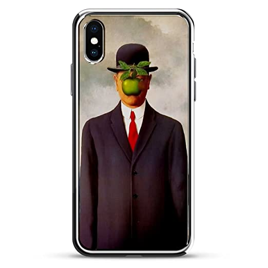 Luxendary Son Of A Man Magritte 3D Texture Printed Design High-End Case For IPhone X - Chrome / Silver