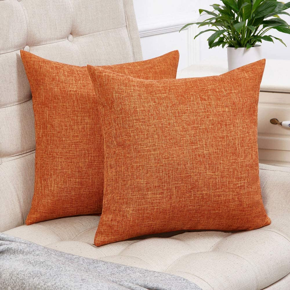 Anickal Set of 2 Fall Orange Pillow Covers Cotton Linen Decorative Square Throw Pillow Covers 18x18 Inch for Sofa Couch Decoration