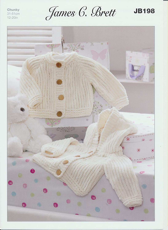 Baby Jackets JB198 Knitting Pattern James C Brett Flutterby Chunky