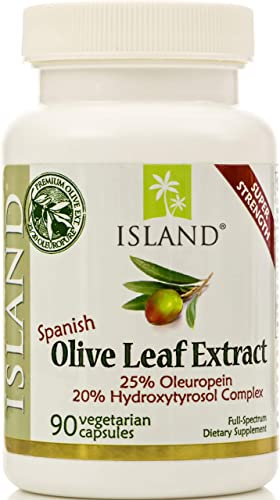Real European Olive Leaf Extract – 25 Oleuropein, Plus 20 Hydroxytyrosol Complex – 100 Grown Extracted in Spain – Super-Strength Capsules by Island Nutrition