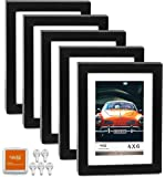 "CAVEPOP 5x7 Black Picture Frame with Mat Set of 5, Made to Display 5x7"" Without Mat, 4x6 with Mat - Large Wall Hanging Photo Frames, Collage Picture Frame Sets"
