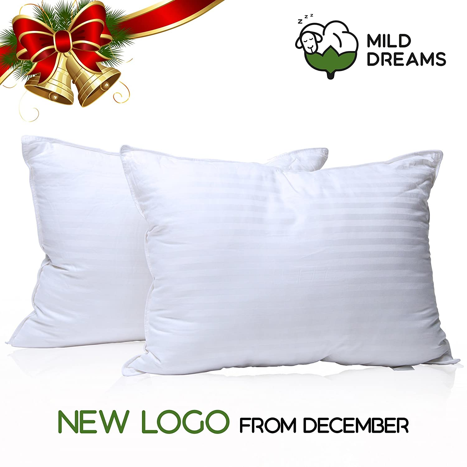 Best Hotel Pillow Set of 2 Bed Pillow Pillows for Sleeping 2 Pack Standard Size 20x26 inch Soft Hypoallergenic Material Milddreams