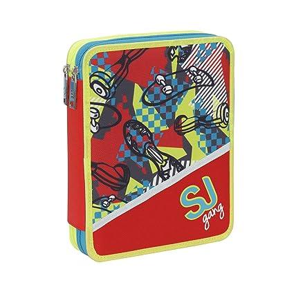 Estuche Maxi Seven dos cremallera completo SJ GANG Boy rojo amarillo azul con Skate: Amazon.es: Oficina y papelería