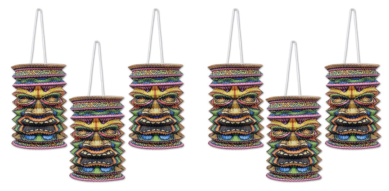 Multicolored Beistle S54563AZ2 Tiki Paper Lanterns 6 Piece