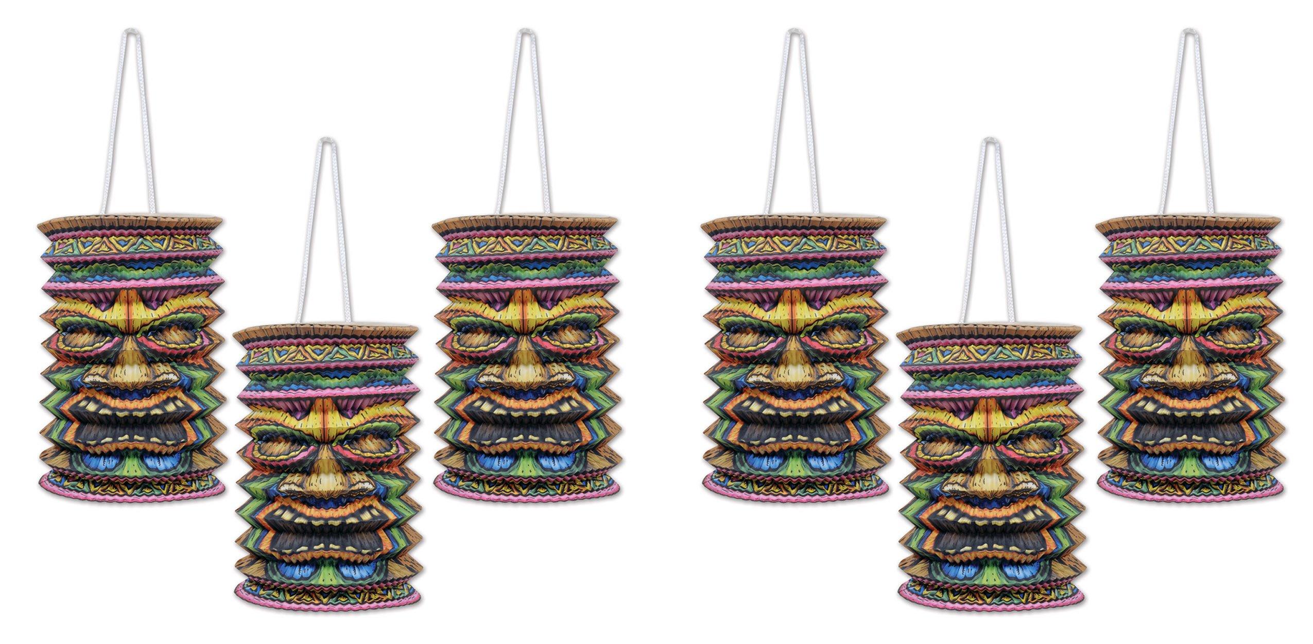 Beistle S54563AZ2 Tiki Paper Lanterns 6 Piece, Multicolored