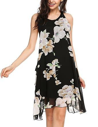 687534c50de Meaneor Women s Loose Floral Tank Dress Summer Sleeveless Backless Flowy  Dress Pattern1 S