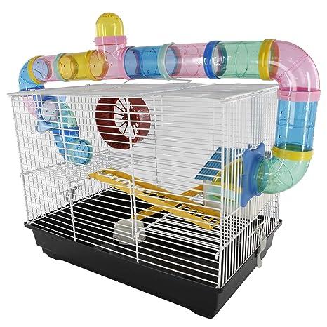 PawHut Jaula para Hamsters ratón pequeños roedores 2 Pisos 2 ...