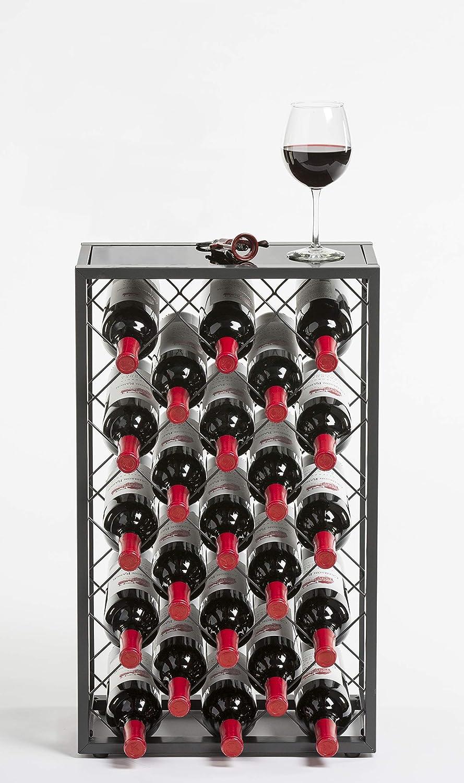 Schwarz // MEHRWEG Mango Steam 32 Flaschen Weinregal mit Glasplatte