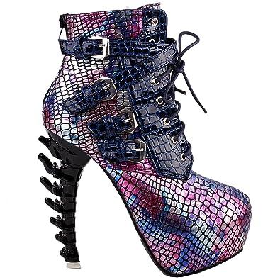 Show Story Purple Punk Design High Heels Snake Pattern Women's High-Top  Bone High Heel