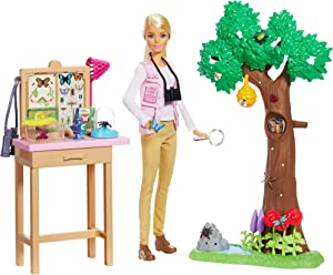 ​Barbie Entomologist Doll, Blonde, and Playset with Working Features and 20+ Accessories Inspired by National Geographic for Kids 3 Years to 7 Years Old