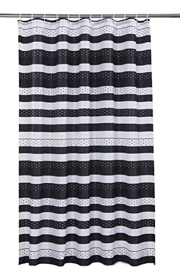 Vibrant Jet Black And White Polyester Shower Curtain Including 12 Rings By Waterline